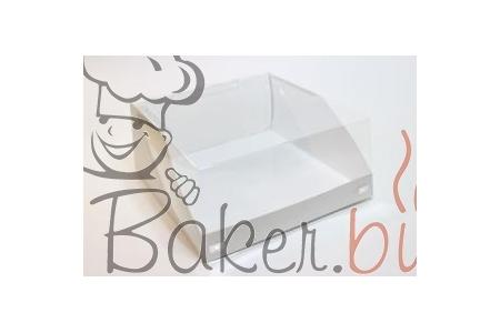 Коробка для тортов с прозрачной крышкой, 225х225х h100 мм