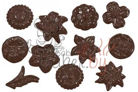 """Форма для шоколадных украшений """"Цветы, ассорти"""""""