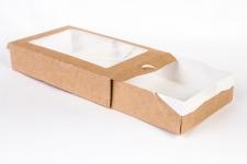 Коробка-пенал с окном, крафт 170x70 h40 мм