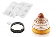 """Набор: Форма силиконовая """"Монблан"""" (6 выемок, Ø72 h42 мм) + 6 колец для тарт перфорированных (Ø80 h20 мм)"""