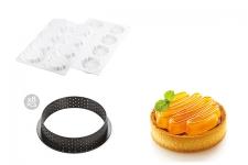 """Набор: Форма силиконовая """"Оноре"""" (8 выемок, Ø70 h13 мм) + 8 колец для тарт перфорированных (Ø80 h20 мм)"""