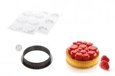 """Набор: Форма силиконовая """"Парадиз"""" (6 выемок, Ø70 h11 мм) + 6 колец для тарт перфорированных (Ø80 h20 мм)"""