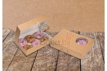 Коробка для пончиков/донатсов, крафт 185х270х h55 мм