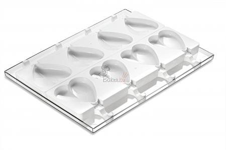 """Набор для изготовления мороженого """"Сердце"""", 8 выемок 91х85 h23 мм (50 палочек в комплекте)"""