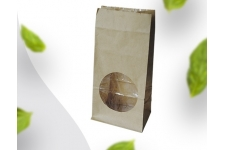 Пакет бумажный крафт с окном, 100х60х200 мм