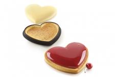 """Набор: Форма силиконовая """"Сердце"""" (1 выемка, 190х160 h25 мм) + 1 кольцо для тарт перфорированное  (205х190 h20 мм)"""