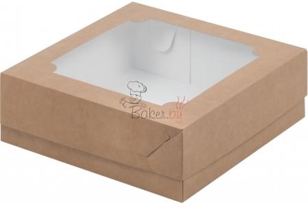 Коробка для зефира и печенья с окном, Крафт, 200х200х h70 мм