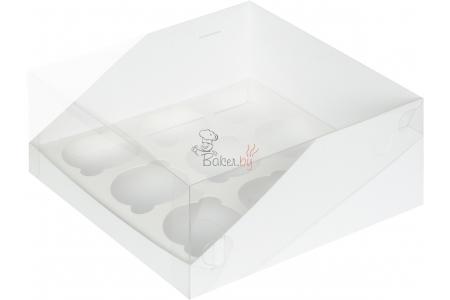 Коробка для капкейков Премиум, Белая (на 9 шт), 235х235х h100 мм