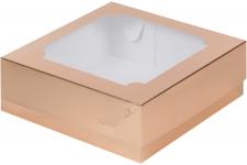 Коробка для зефира и печенья с окном, Золотая, 200х200х h70 мм