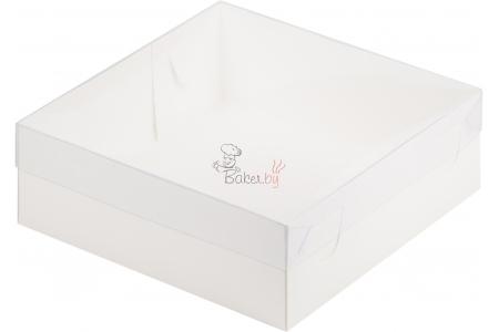 Коробка для зефира и печенья с пластиковой крышкой, Премиум, Белая, 200х200х h70 мм