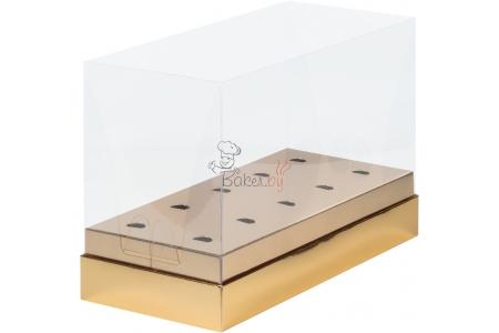 Коробка для кейк-попсов с пластиковой крышкой, Золотая, 240х110х h160 мм