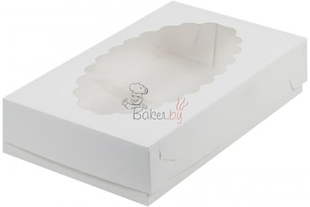 Коробка для эклеров с окном, Белая, 240х140х h50 мм