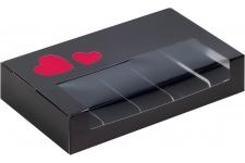 Коробка для эклеров и эскимо с окном, Черная с сердечками, 250х150х h50 мм