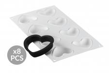 """Набор: Форма силиконовая """"Сердце"""" (8 выемок, 65х55 h15 мм) + 8 колец для тарт перфорированных (80х70 h20 мм)"""