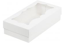 коробка для кондитерских изделий с фигурным окном 210х100х55 белая