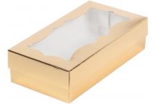 коробка для кондитерских изделий с фигурным окном 210х100х55 золото