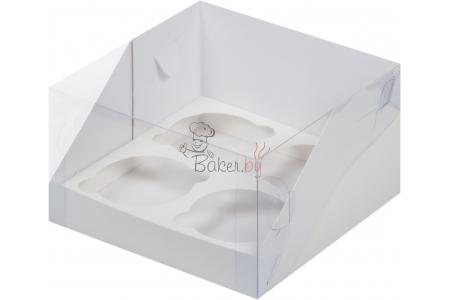 Коробка для 4 капкейков ПРЕМИУМ 160х160х100 белая
