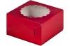 коробка для 4х капкейков 160х160х100 черри