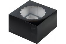 коробка для 4х капкейков 160х160х100 черная