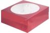 коробка для 9 капкейков 235х235х100 черри