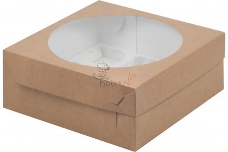 коробка для 9 капкейков 235х235х100 крафт