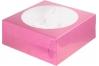 коробка для 9 капкейков 235х235х100 фуксия