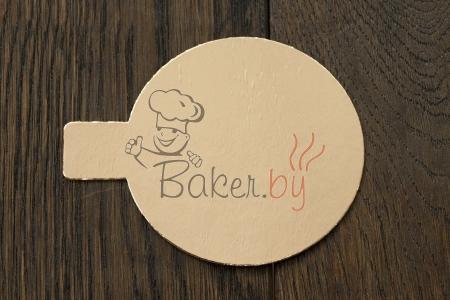 Подложка для пирожных с держателем, D8 см (толщина 0,8мм), золото/серебро, из фольгированного картона