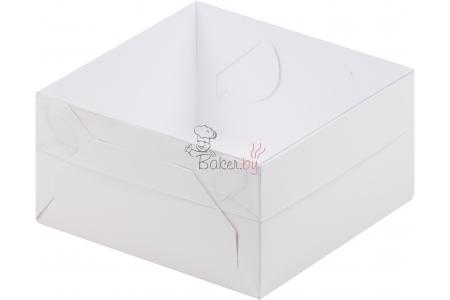 Коробка для зефира, тортов и пирожных с пластиковой крышкой, Белая, 120х120х h60 мм