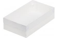 Коробка для зефира, тортов и пирожных с пластиковой крышкой, Белая, 250х150х h70 мм