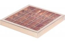 Коробка для 25 конфет с пластиковой крышкой Золотая, 245х245х h30 мм