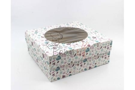Коробка для капкейков с окном (на 9 шт), 250х250х h100 мм
