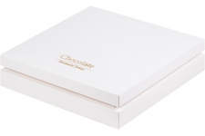 "Коробка для 25 конфет ПРЕМИУМ с логотипом ""Chocolate Hand Made Sweets"" Белая, 245х245х h30 мм"