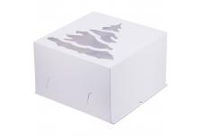 """Коробка для торта с окошком """"Ёлка"""" (белая), 300х300х h190 мм"""