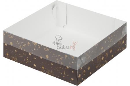 Коробка для зефира и печенья с пластиковой крышкой, Коричневая со звездами, 200х200х h70 мм