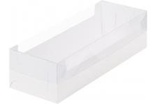 Коробка для рулета с пластиковой крышкой, Белая, 300х110х h80 мм
