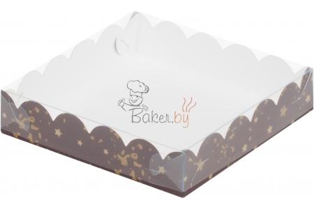 """Коробка для пряников/печенья """"Коричневая со звездами"""", 155х155х h35 мм"""
