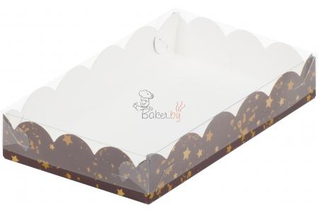 """Коробка для пряников/печенья """"Коричневая со звездами"""", 220х150х h35 мм"""
