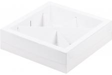 Коробка для ассорти сладостей с пластиковой крышкой, Белая, 200х200х h55 мм