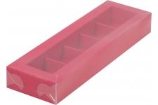 Коробка для 5 конфет с пластиковой крышкой Красная