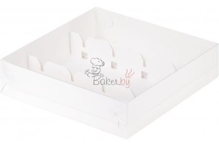 Коробка под кейк-попсы с пластиковой крышкой, Белая, 200х200х h50 мм