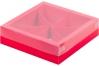 Коробка для ассорти сладостей с пластиковой крышкой, Красная матовая, 200х200х h55 мм