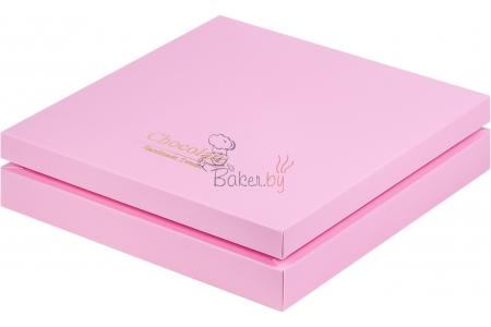 "Коробка для 25 конфет ПРЕМИУМ с логотипом ""Chocolate Hand Made Sweets"" Розовая матовая, 245х245х h30 мм"
