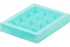 Коробка для 12 конфет с пластиковой крышкой Тиффани, 190х150х h30 мм