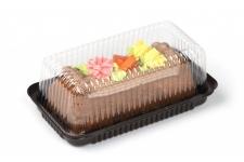 Упаковка для тортов и десертов прямоугольная (основание коричневое, 230х120 мм), пластик