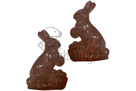 """Форма для шоколадных украшений """"Кролик с яйцами в корзине"""", 2 ячейки 150х90хh21мм"""