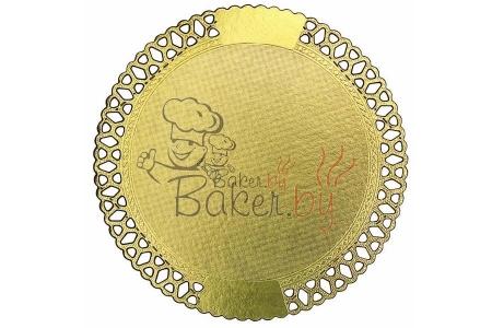 Ажурный поднос для тортов, кругл. D26см, из фольгированного картона