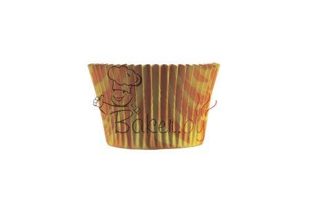 """Форма для выпечки """"Зебра"""" желт/оранж, Ø50 h35 мм, 25 шт"""
