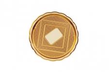 """Поднос для тортов """"Медоро"""" круглый D26см, золото, пластик"""