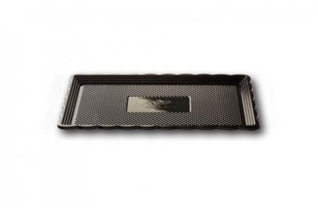 """Поднос для тортов """"Медоро"""" прямоугольный 30х15см, черный, пластик"""