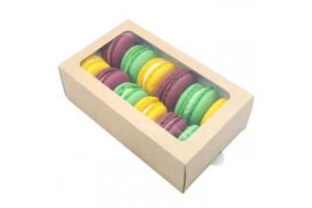 Коробка для макаронс (на 12 шт), крафт 180х110х h55 мм